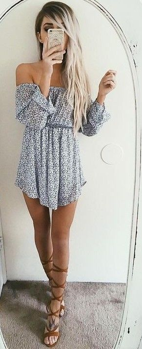 Off the shoulder dress & lace up sandals.