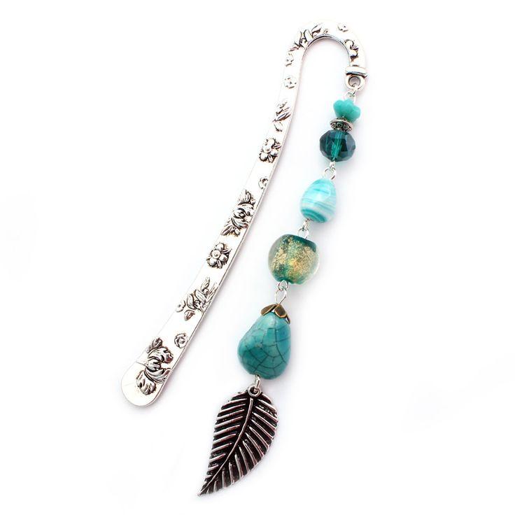 Boekenlegger Turquoise Feather #Boekenlegger #Bookmark www.Mbijoux.nl
