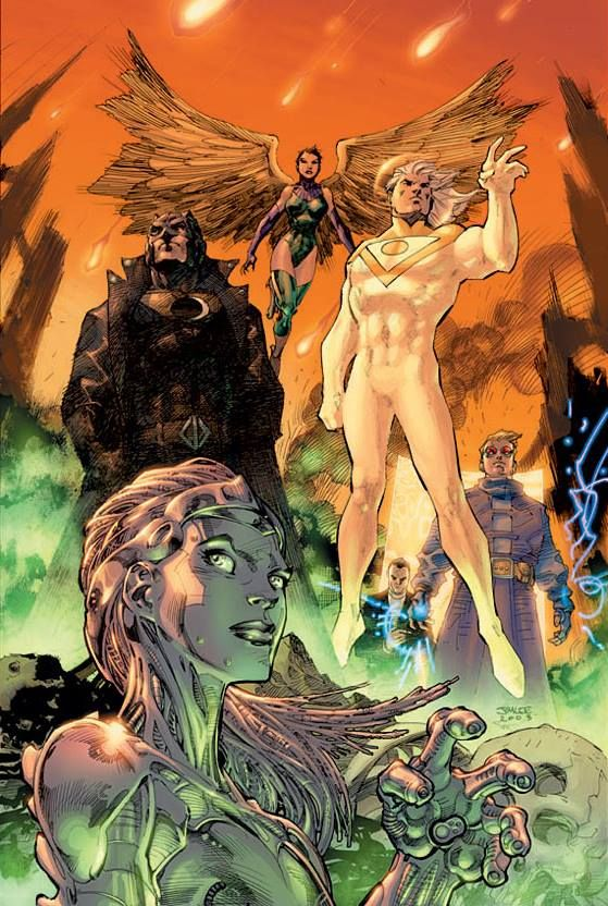 Midnighter and Apollo with their teammates in The Authority (art by Jim Lee; characters created by Warren Ellis in conjunction with Tom Rane.....!!!!