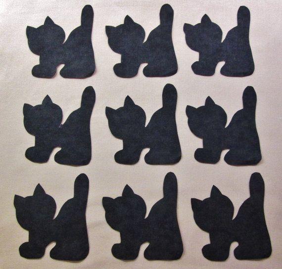 Set di 9 Iron-on nero Halloween Cat cotone di MarsyesShoppe