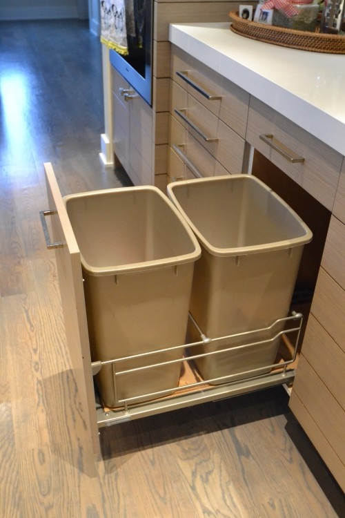 pull out drawers specific for trash or recycling