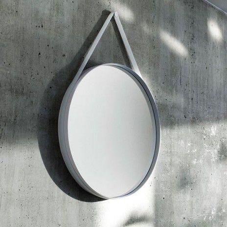 STRAP : um espelho redondo agradável, em aço revestido em pó, com seu silicone strap, HAY. Deco e design. - awp_details: