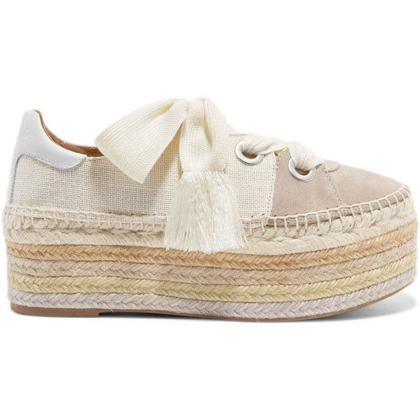 e474e9cd2 Chloé Qai canvas, suede and leather espadrille platform sneakers ($650) ❤  liked on