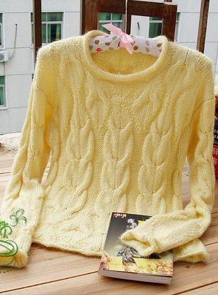 Эффектный пуловер с косами спицами