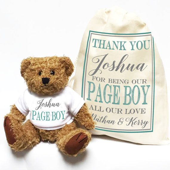 A perfect gift to give to your Page Boy, on your special day. For your wedding, these personalised Teddy Bears make the most wonderful, unique gifts. Make your Page Boy feel extra special with this traditional style bear, in his own gift bag. We have matching bears for everyone in