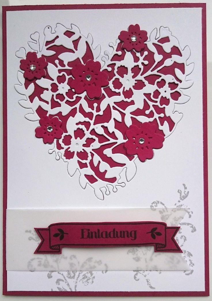 blühendes Herz timeless textures Stampin Up Hochzeitseinladung Einladung Hochzeit