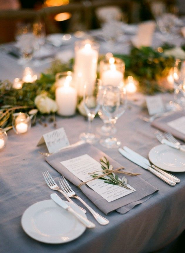 """Like candles with bud vases for the tables/ Dinner will be served family style and large format (read: rather large plates take up most of the space). Will have 42"""" wide tables."""