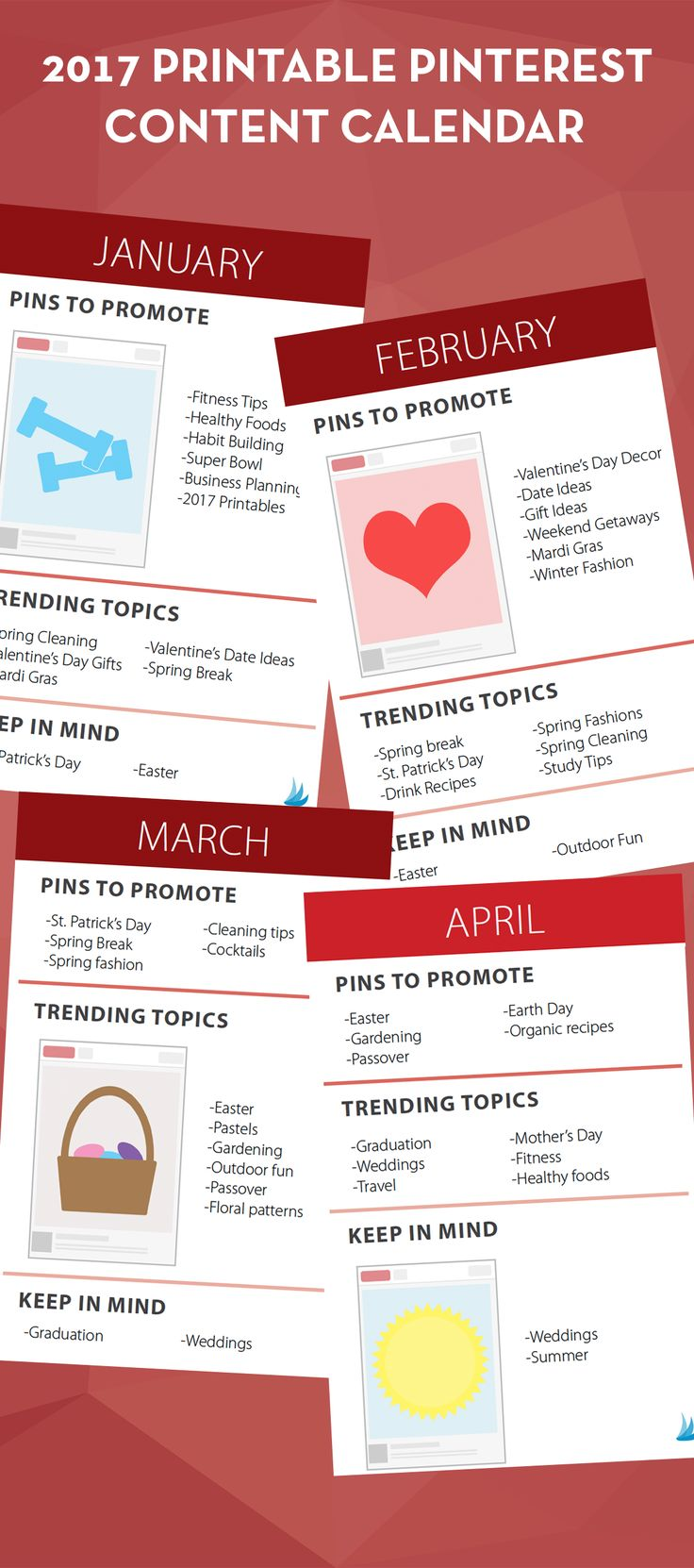 Know exactly what to Pin when with this FREE printable Pinterest content calendar from Tailwind.  Keep up with all the trends for every month of 2017.