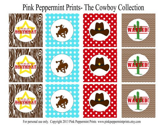 NEW INSTANT DOWNLOAD The Cowboy Party Collection Printable Custom Party Circles and Tags