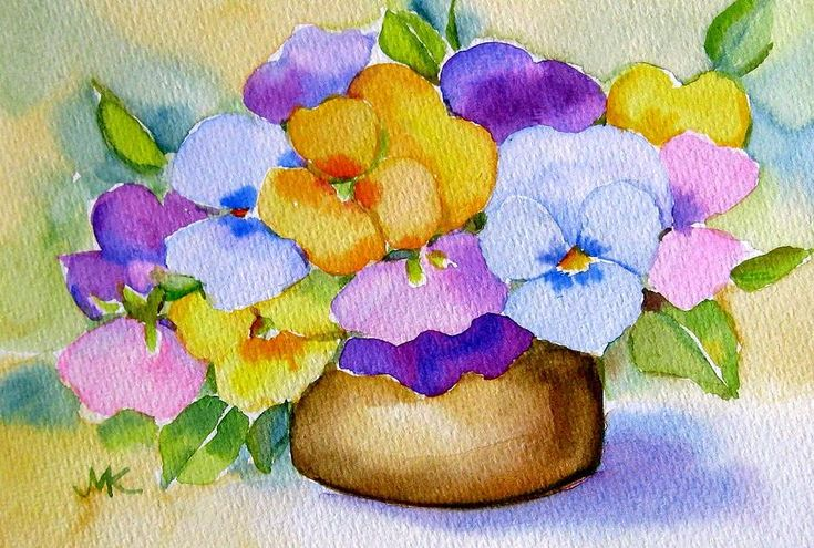 Flower Painting - Pansies Stillife by Meltem Kilic
