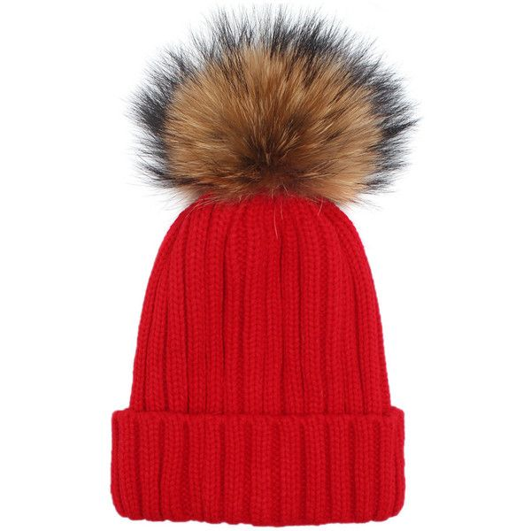 Knit Faux Fur Pom Beanie (23 PEN) ❤ liked on Polyvore featuring accessories, hats, faux fur pom pom hats, knit pom pom beanie, pompom hat, faux fur pom pom beanie and beanie caps