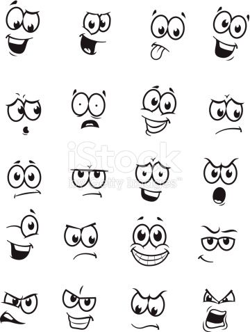 Vector drawings of different expressions/emotions.
