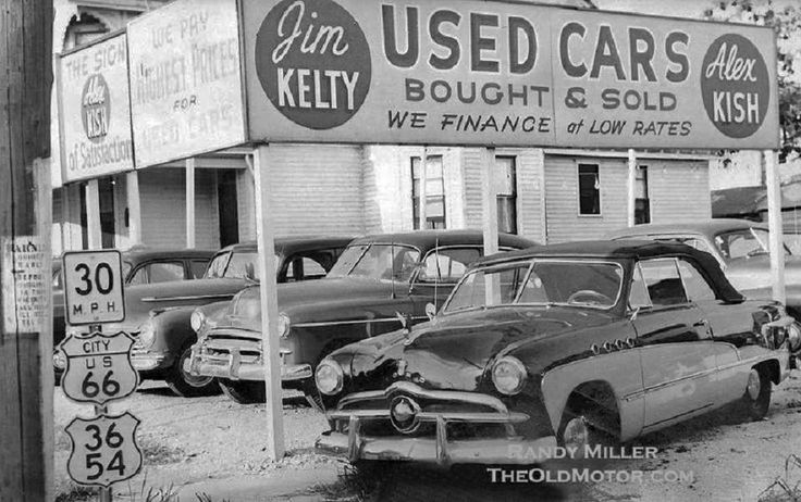 Car Dealerships In Springfield Il >> US Route 66 Car Lot, Springfield, IL, 1951. | Old Gas Stations, Car Dealers, Service Garages,Gas ...