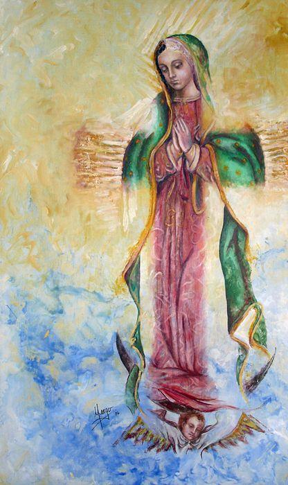 """Guadalupana"", Karina Llergo Salto, encaustic and oil on canvas; Guadalupe Virgin portrait"