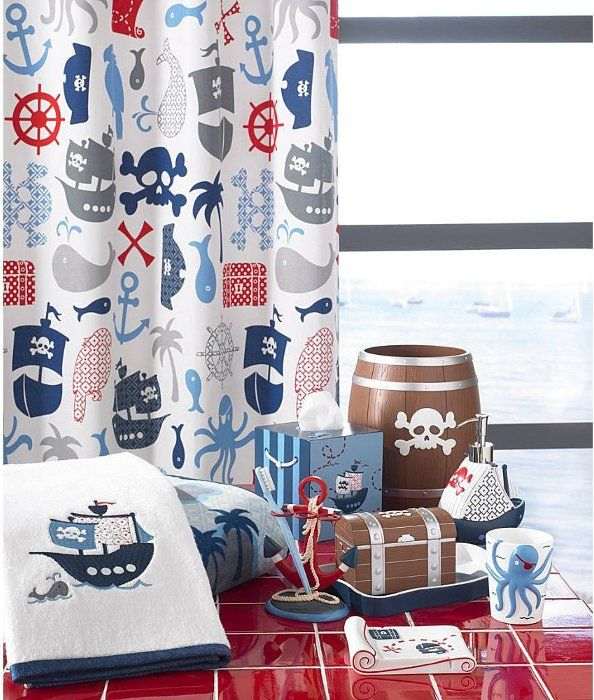 Pirate themed bathroom decor collection designed for kids