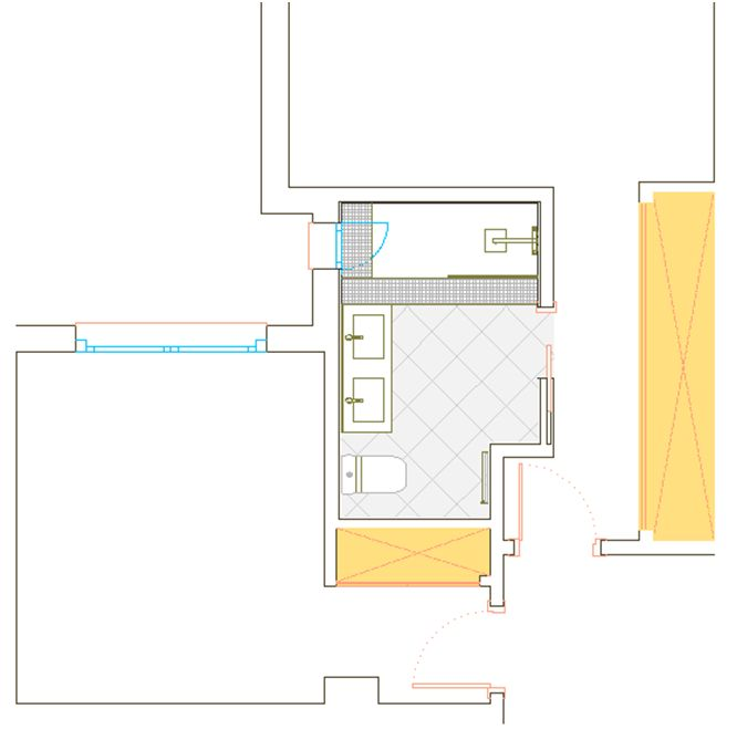 Reforma de baño principal, la bañera se sustituye por plato de ducha de 140x80 cm de carga mineral extraplano. Se crean dos colores y texturas diferentes en el solado para diferenciar la zona de baño. Ampliación de baño desplazando el tabique de separación con pasillo y acceso por puerta corredera empotrada.