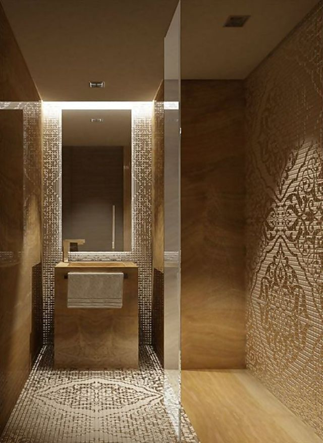 Such a delicate design for the bathroom- a fresh new way to design the bathroom walls and floors