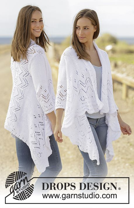 Jacket knitted sideways with lace pattern and ¾ sleeves in DROPS Paris. Size: S - XXXL