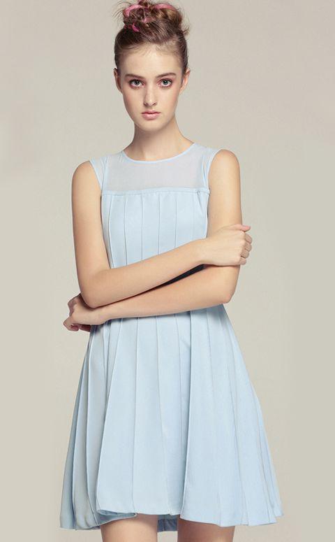 Light Blue Round Neck Sleeveless Ruched Short Dress