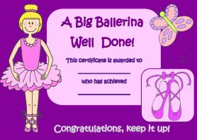 Ballet Certificate (also games and coloring pages)