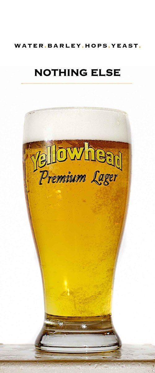 Yellowhead Brewing Company, Edmonton - A light golden-amber, YELLOWHEAD PREMIUM LAGER is alive with a gentle effervescence, the result our natural carbonation process. Led by aromas of mild hops and fresh grass, Yellowhead is crisp with gentle malt sweetness and a subdued bitterness on the palate. This lager appeals to those who value a consistently high quality product, enjoys a beer with their meal, and appreciates a local Canadian product