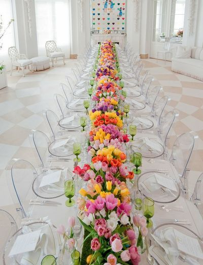 Wedding table with multicoloured tulips - pink, orange, yellow, white green via Ritzy Bee Blog