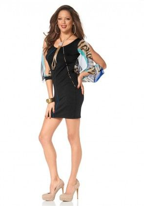 Dress with chiffon sleeves, black-multicolour