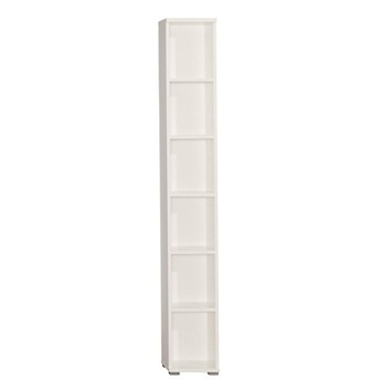 Free Standing Tall Narrow White 6 Tier Shelf Bookcase