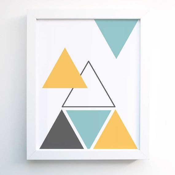 Geometric Triangle Art Print. Turquoise Blue, Mustard yellow, Gray ,Grey Wall Art - Wall Decor - Minimal- Modern