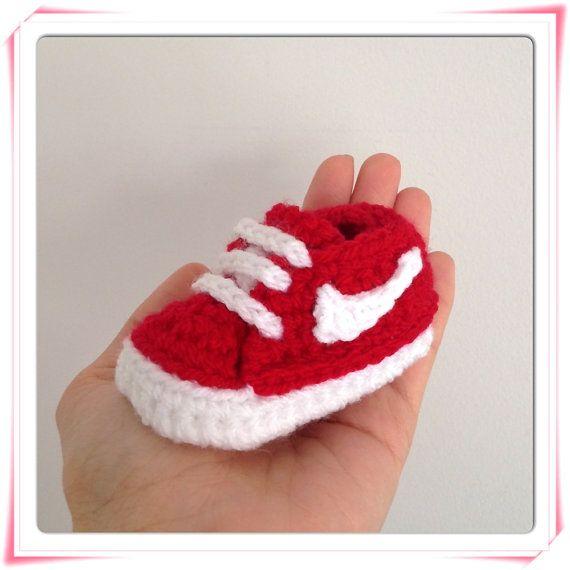 Baby sneaker Nike style crochet knit handmade baby by Plumalicious