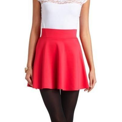 $16, Hot Pink Skater Skirt: Charlotte Russe Solid High Waisted Skater Skirt By Pink. Sold by Charlotte Russe. Click for more info: http://lookastic.com/women/shop_items/54216/redirect