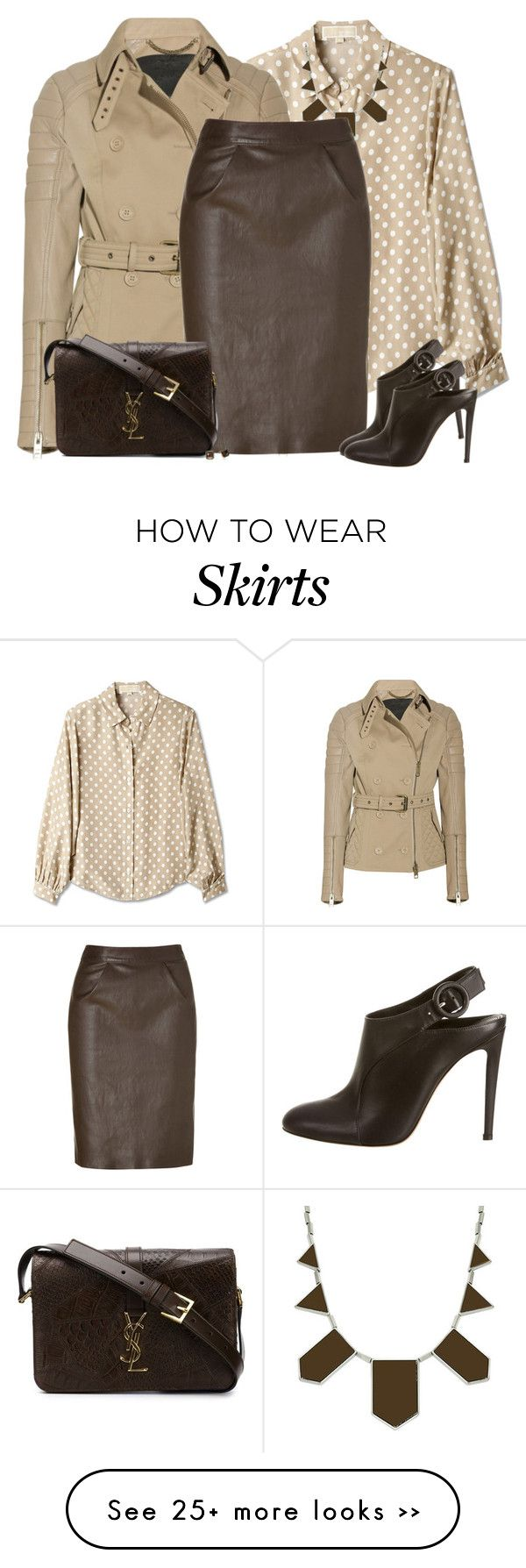 """Brown Leather Skirt"" by daiscat on Polyvore featuring MICHAEL Michael Kors, Burberry, House of Harlow 1960, Jitrois, Gianvito Rossi, Yves Saint Laurent and FOSSIL"