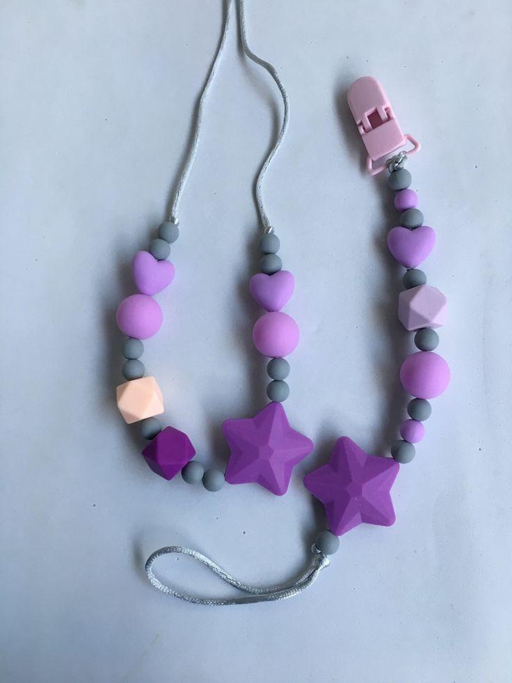 Collar de lactancia y dentición de silicona Estrella Morada-  100% hecho a mano. Nursing necklace.Teething Bracelet de Trapitobebe en Etsy