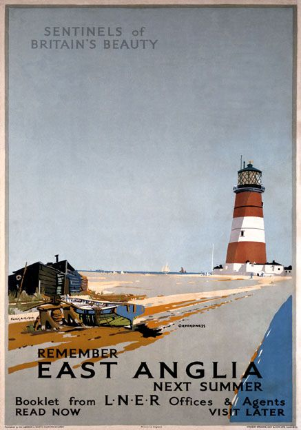 Remember East Anglia Next Summer Orfordness Lighthouse Suffolk. Vintage LNER Travel poster by Frank H Mason