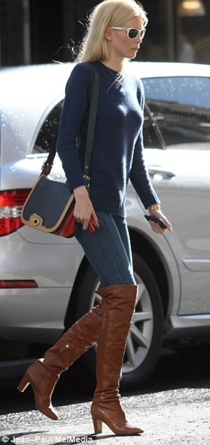 Claudia - jeans, navy jumper, tan boots