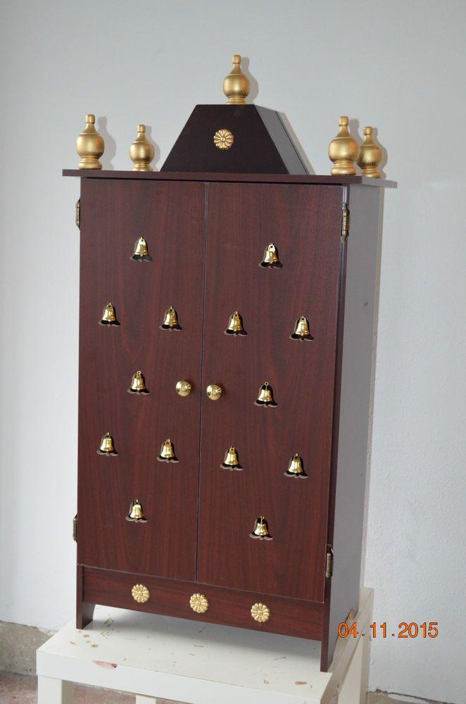 "42"" Tall Non Oxidised Wooden pooja Mandir, Hindu Puja items, Mandir in USA #PujaMandir #Modern"