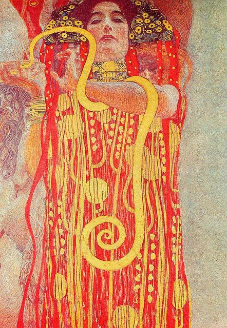 "Gustav Klimt (1862–1918) ""Medicine"" There's red, shades of oranges, and yellow in the ladies clothes, and they are analogous colors.They match well and create calm scenes."