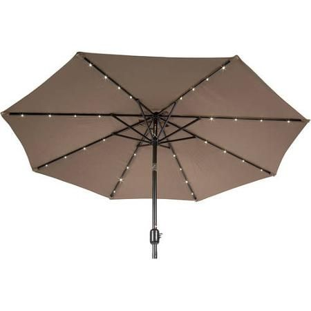 9u0027 Deluxe Solar Powered LED Lighted Patio Umbrella, ...