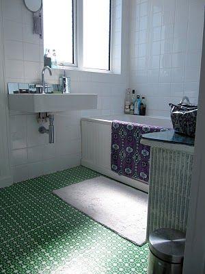 DIY flooring made from art paper, waterproof PVA and boat varnish