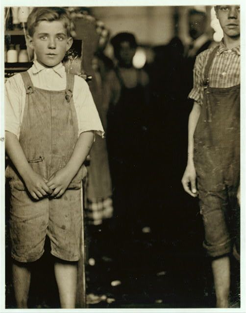 Two young doffers cotton mill North Pormal [i.e., Pownal], Vt.  Location: No[rth] Pownal, Vermont.