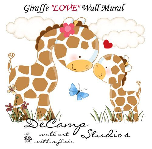 Giraffe LOVE Wall Art Mural Decal for baby girl boy nursery or kids room decor. This adorable mural of a loving mother giraffe with her baby in the spring meadow. This unique, one of a kind wall mural is high quality with bright vivid colors. Easy to install #decampstudios