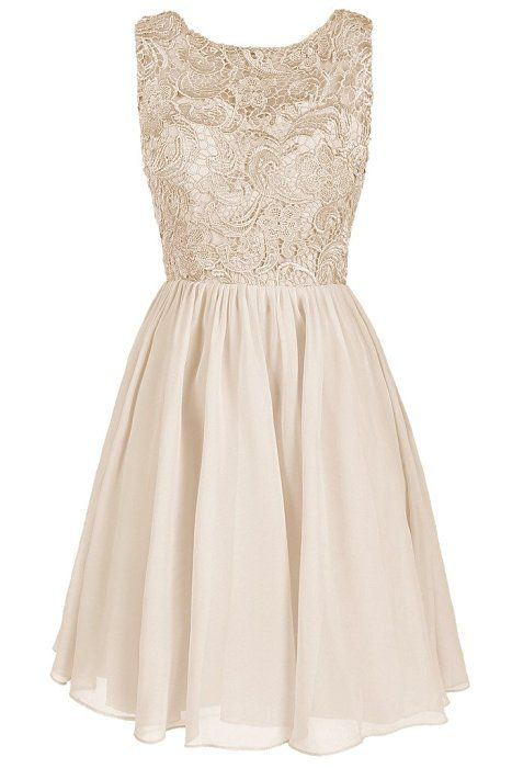 Dresstore Women's Lace Bridesmaid Formal Short Homecoming Dress Champagne US 2