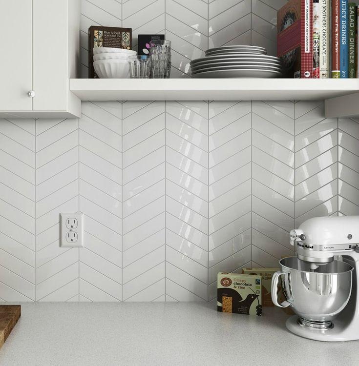 Chevron Ceramic White 2 Quot X 9 Quot Keramik Wandfliese 3 29 Usd Pro Quadratfuss Hoch White Kitchen Splashback Kitchen Splashback Tiles Kitchen Splashback