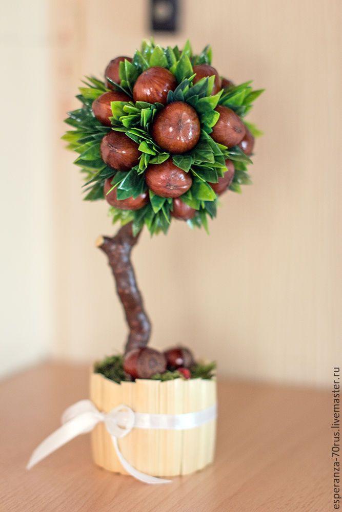 Купить Топиарий ореховый (мини) подарок на 8 марта - топиарий дерево счастья