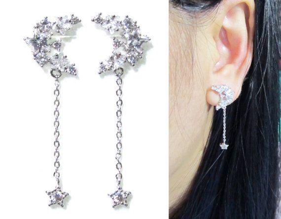 Clip Ons Cz Star Moon Cer Wedding On Earrings 14p Bridal Dangle Crystal Silver Rhinestone Non Pierced In 2018