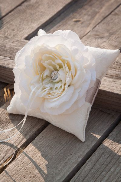 Ivory and Champagne Garden Rose Wedding Ring Pillow. $30.00, via Etsy.
