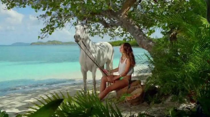 DirecTV presents Hannah and Her Horse. Fashion model, Hannah Davis is sitting on the beach feeding her horse a carrot and explaining that DirecTV rated higher than cable in customer satisfaction for 14 years. And, she insists you don't just take it from her, but straight from her talking horse's mouth. Upgrade to DirecTV for $19.99 a month for 12 months.