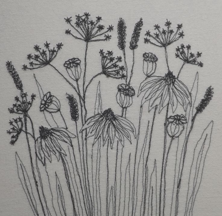 meadow seed heads - free machine embroidered