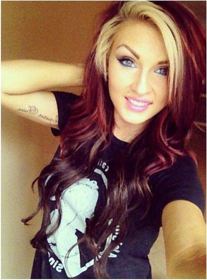 25 unique blonde underneath hair ideas on pinterest underneath black red hair with blonde bangs urmus Image collections