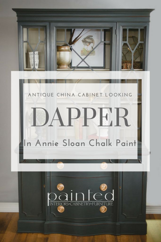 Check out this antique china cabinet transformation.  It went from dark Mahogany to looking mighty dapper using Annie Sloan Chalk Paint.  Click to learn more about the colors and techniques I used to create this traditional look!